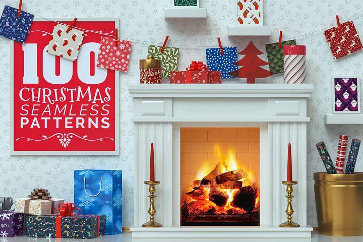 100 Christmas Seamless Patterns