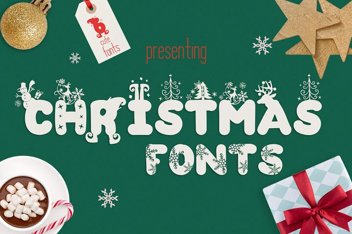 The Christmas Fonts Bundle with 6 Fonts & Bonus