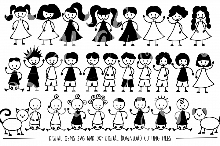 Stick People SVG / DXF / EPS / PNG Files - Free Design of The Week