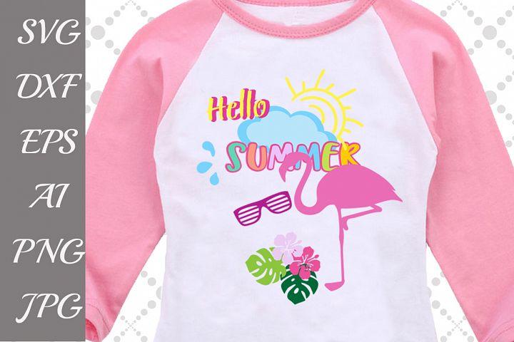Hello Summer Svg,FLAMINGO SVG