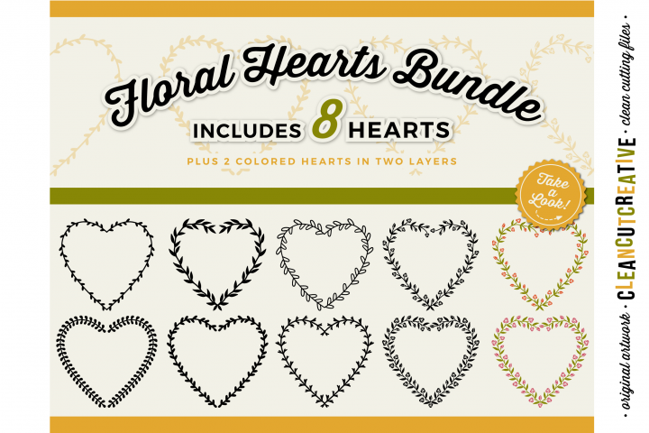 8 svg FLORAL HEARTS floral leaf heart wreath frames - SVG DXF EPS PNG - for Cricut and Silhouette Cameo - clean cutting digital files