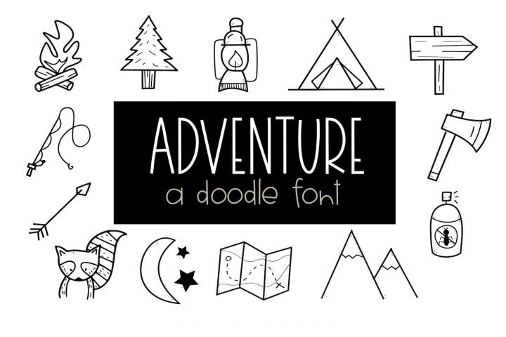 Adventure - A Camping & Outdoors Doodles Font