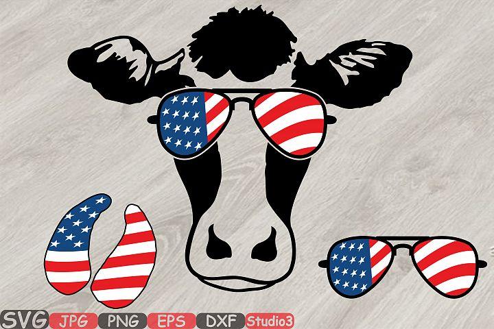 Cow USA Flag Glasses Silhouette SVG Cutting Files Clip Art Studio3 cricut cuttable Die Cut Machines cut layer cowboy western 4th July 832S
