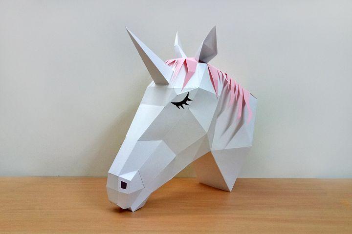 DIY Unicorn head - 3d papercraft
