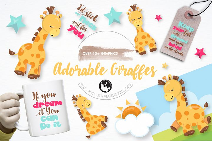 adorable giraffes graphics and illustrations