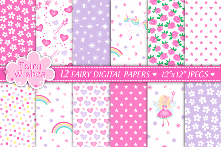 Fairy digital papers, Unicorn digital papers, Fairy patterns, Fairy digital scrapbook papers, Floral papers