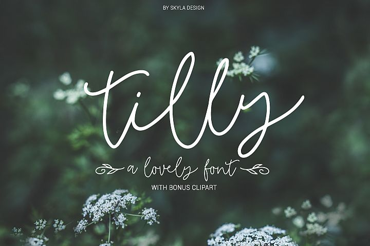 Tilly, a lovely, romantic, wedding font with bonus clipart