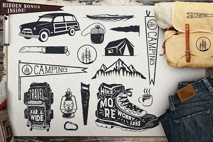 Vintage Surfing Icons / Summer Camping Symbols