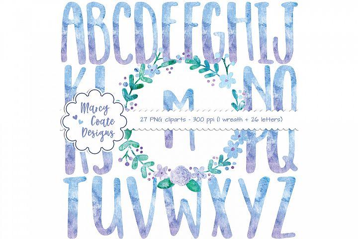 Watercolor Wreath & Watercolor Alphabet Clipart (purple & blue)