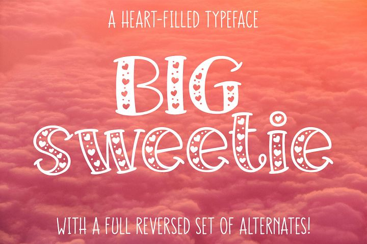 Big Sweetie - heart-filled font