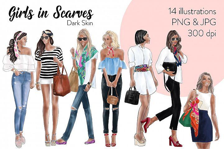 Fashion illustration clipart - Girls in scarves - Dark Skin