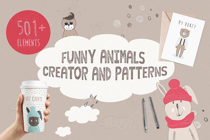 Funny Animals Creator & Patterns - Free Design of The Week