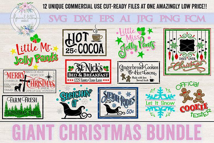 Giant Christmas Bundle of 12 SVG Cut Files LLCB1