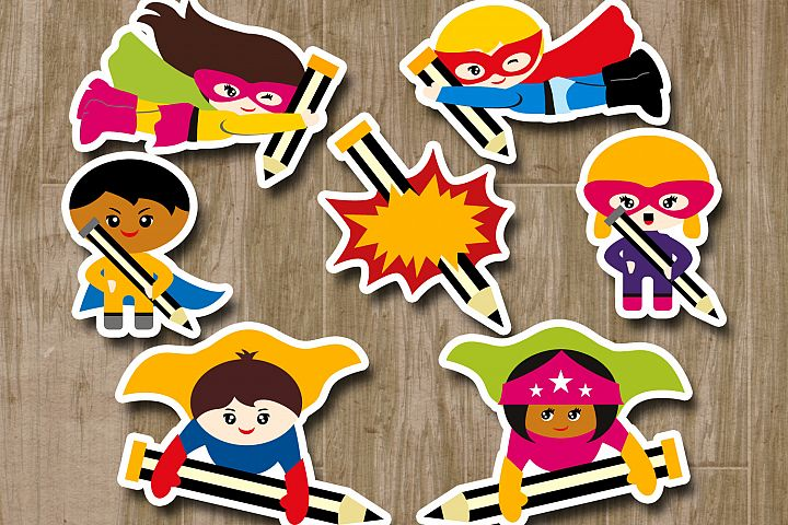 Back to school Superhero writing clipart, pencils / graphics