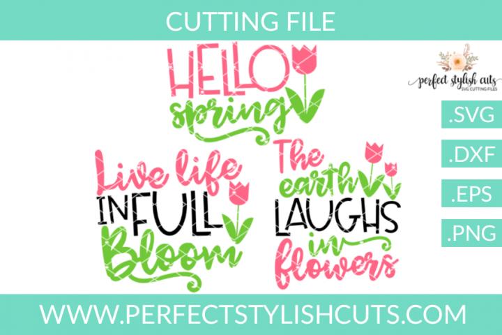 Spring Flower Bundle - SVG, EPS, DXF, PNG Files For Cutting Machines, Spring SVG, Flower SVG