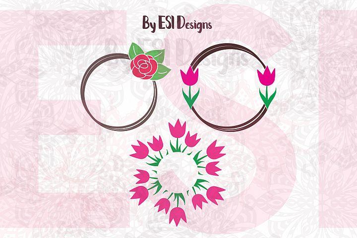 Rose and Tulip | Circle Monogram Frame Design
