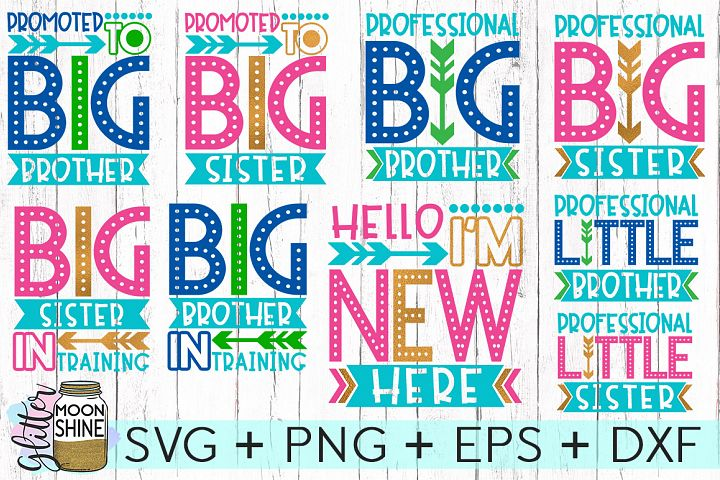 Sibling Announcement Bundle SVG DXF PNG EPS Cutting Files