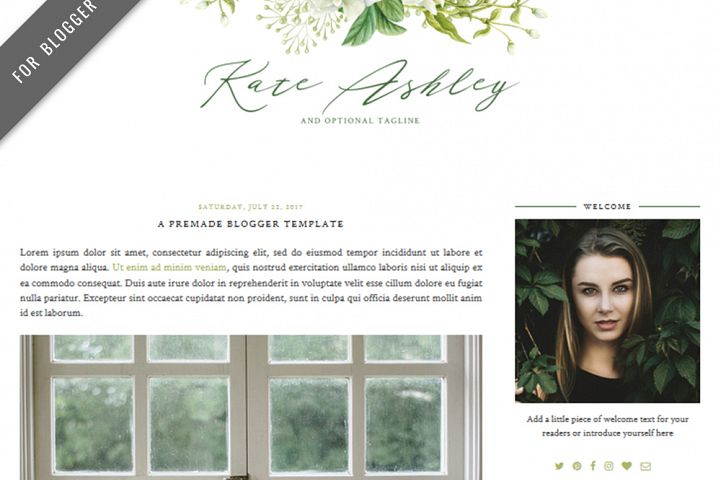 Premade Blogger Template - Mobile Responsive - Watercolor Design Blog - Kate Ashley Theme