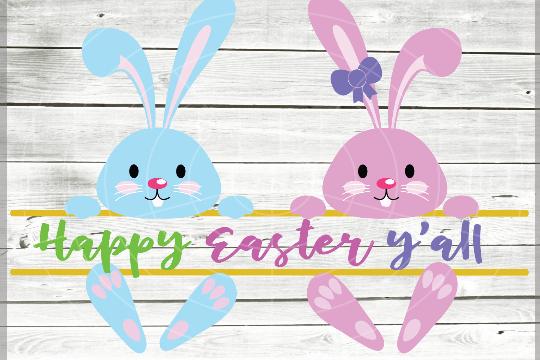 Split Easter Bunny SVG - Easter monogram SVG File - Easter cuttable file - Bunny Svg - Cutting File - Svg - Dxf - Eps - Png - Jpg - Pdf