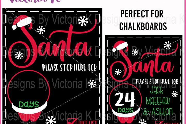 Christmas Countdown Chalkboard Cutting file, Santa Stop here, SVG, DXF, EPS, Vinyl Cut Files