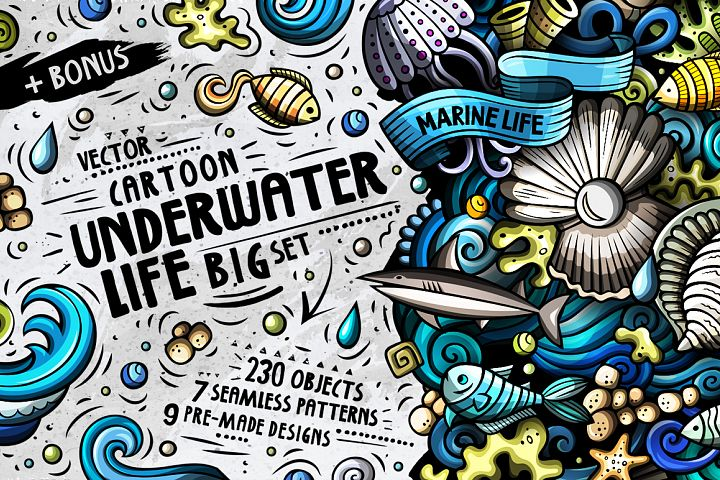 Sea Life Cartoon Doodle Big Pack