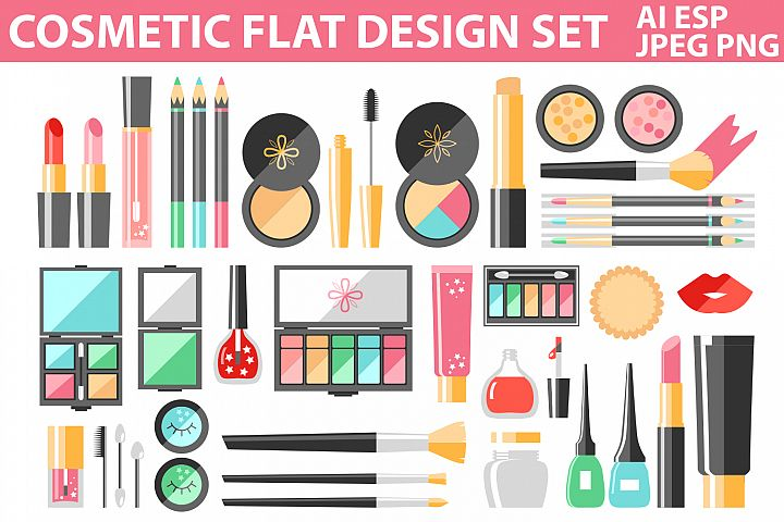 Flat vector cosmetics and makeup