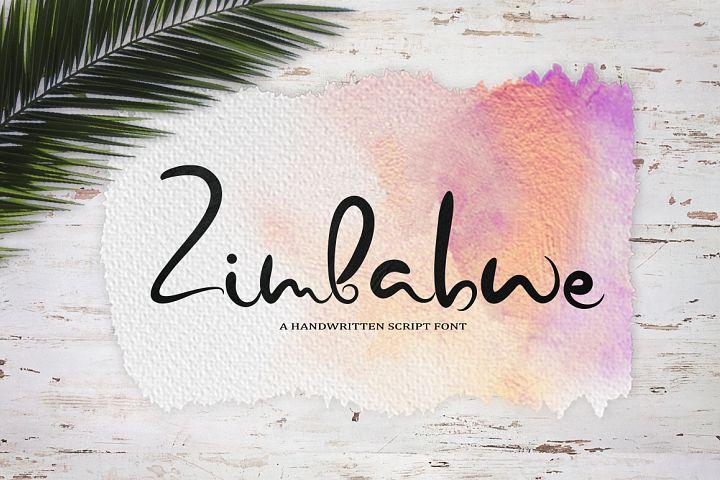 Zimbabwe. A handwritten script font