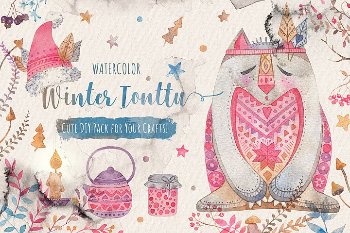 Winter Tonttu Watercolor DIY Pack
