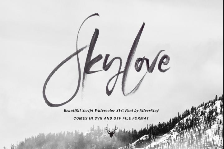 SkyLove SVG Unique Watercolor Script Font