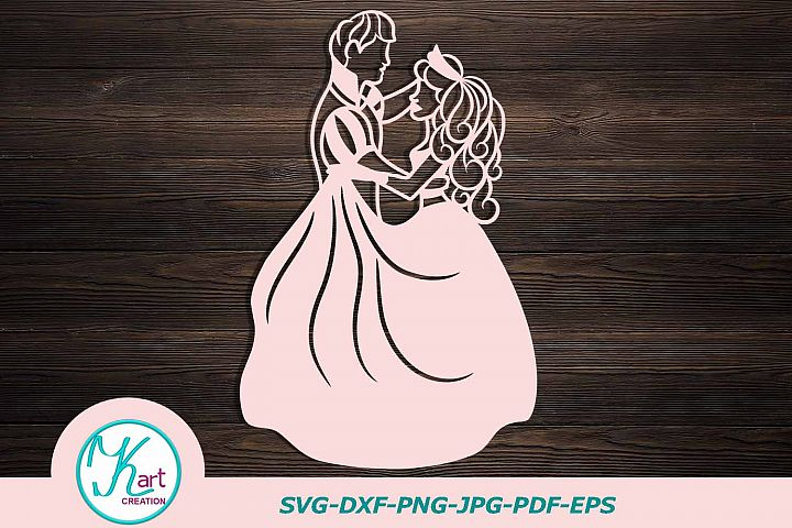 Cinderella papercutting template, bride and groom svg, princess papercut template, wedding, to print, to cut yourself, dancing couple, svg