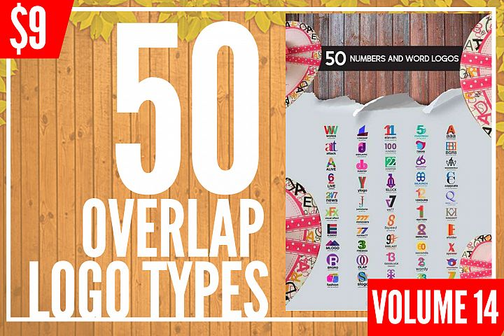 50 Number and Alphabets Overlap Logo Templates Vol.14