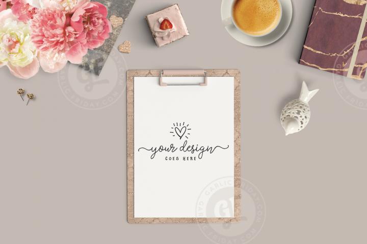 Feminine Clipboard Mockup - Burgundy Styled Desktop Scene