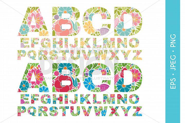 Flower Alphabet Font Clipart, Floral Alphabet, Clip Art Set