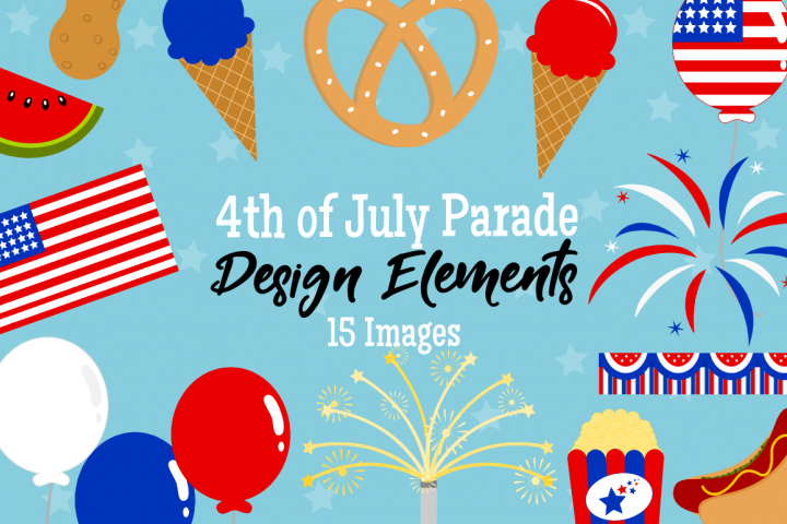 4th of July Parade Graphics, Illustrations, Clipart