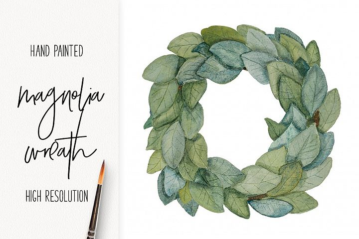 Watercolor Magnolia Wreath - png - Farmhouse style