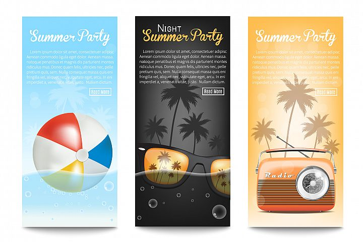 3 Banners.Summer Party.Vector illustration