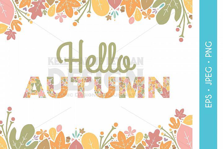 Hello Autumn Wedding Party Invitation Clipart, Digital Leaf