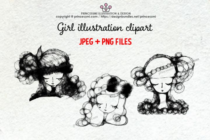 GIRLS illustration clipart 1