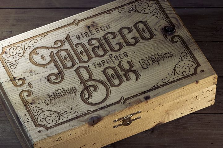 Tobacco Box Font, Mockups, Template!
