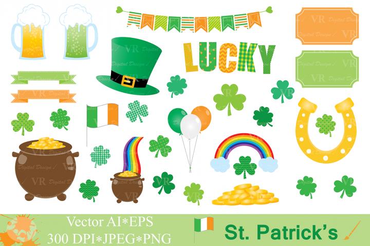 St Patrick`s Day Clipart / Irish Orange and Green Clip art / Shamrock / Clover / Vector Graphics