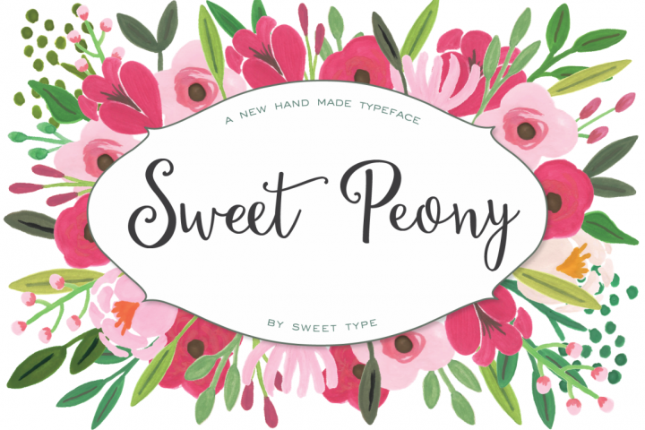 Sweet Peony Hand Lettered Script