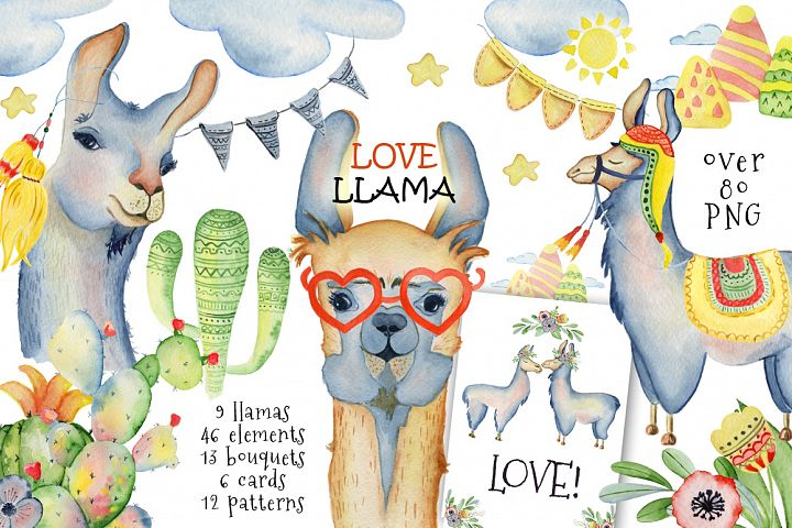 Cute llamas. Watercolor animals clipart