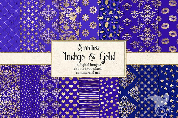 Indigo and Gold Digital Paper