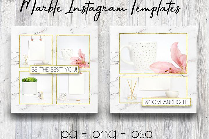 Marble & Gold Instagram Templates | Social Media Templates