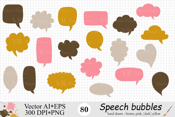Speech Bubbles Clipart / Chat Bubbles / Hand drawn Text bubbles / Brown, Pink, Yellow - Vector