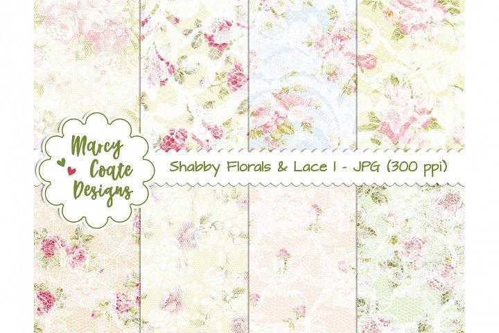 Shabby Florals & Lace backgrounds Set 1