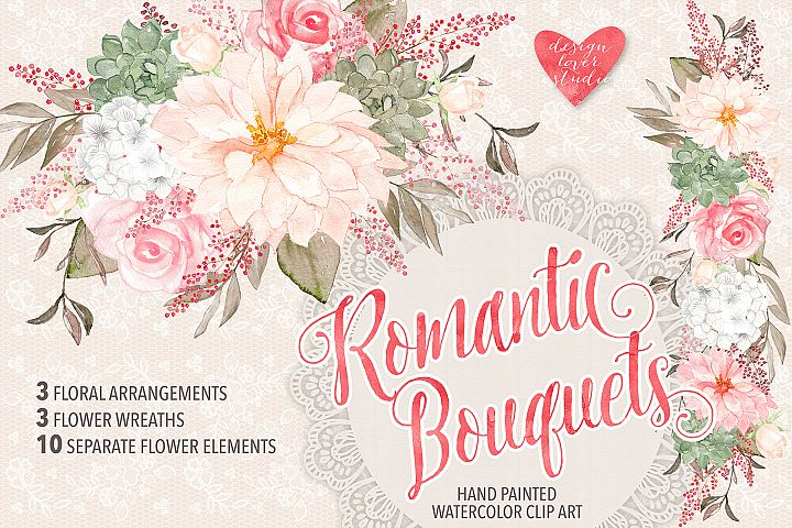Watercolor Rose Romantic Garden clipart