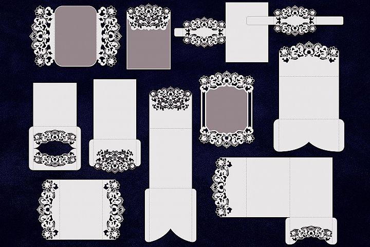 Bundle wedding invitations, svg laser cut templates, big set Cricut invitation, card template, cards set, tri fold, lace, rustic, svg files