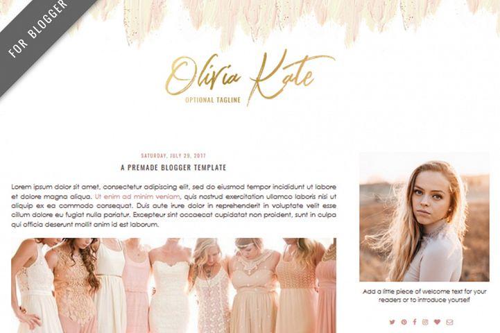Premade Blogger Template - Mobile Responsive - Watercolor Design Blog - Olivia Kate Theme