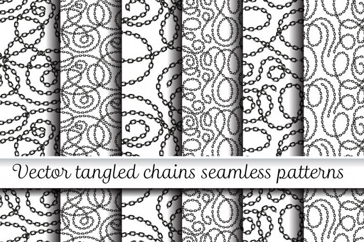 Vector tangled chains seamless patterns set